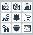 vehicle navigation and road related icon set vector image vector image