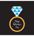 Wedding ring with diamond Happy Valentines Day vector image