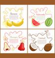 banana and watermelon set vector image vector image