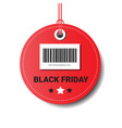 black friday sale round tag with bar code isolated vector image vector image