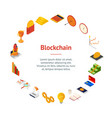 blockchain startup signs 3d banner card circle vector image vector image