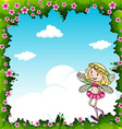 Border design with fairy and flowers vector image