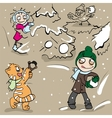 Boy and girl playing snowballs vector image vector image