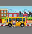 boy infront of school bus scene vector image vector image