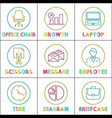 bright round linear icons for business app set vector image vector image
