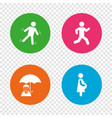 businessman with umbrella human running symbol vector image