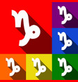 capricorn sign set of icons vector image