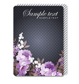 card with roses on a black background vector image vector image