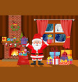 christmas interior of room vector image vector image