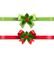 christmas ribbon with holly berry set white vector image vector image