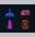 cleaning mop payment method and manager icons vector image