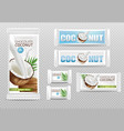 coconut chocolates isolated realistic mock vector image vector image