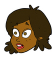 comic cartoon female face with surprised vector image vector image