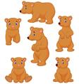 Cute brown bear cartoon collection vector image vector image