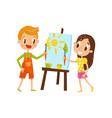 cute little boy and girl painting on an easel vector image vector image