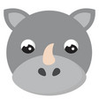 cute little rhino on white background vector image
