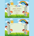 diploma and card template with kids in the park vector image