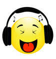 emoticon with headphones on white background vector image