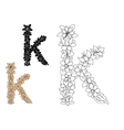 Floral letter k with flower elements vector image vector image