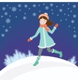 Girl in winter vector image