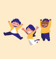 group of cute children celebrating vector image