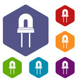 halogen lamp icons set vector image vector image