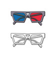 hand-drawn 3d glasses isolated on white background vector image