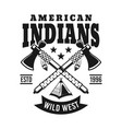 indians emblem with two crossed hatchets vector image vector image