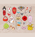 japan colored doodle sketch elements on vintage vector image vector image