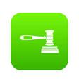 judge gavel icon digital green vector image vector image