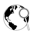 magnifying glass checking world in black and white vector image vector image
