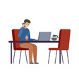 man is drinking coffee and talking on phone vector image