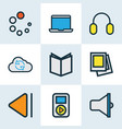 media icons colored line set with textbook vector image vector image