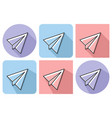 outlined icon of paper plane with parallel vector image