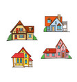 pop art style house set vector image