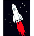 rocket takes off into night sky vector image