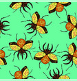 seamless pattern with decorative bugs graphics vector image