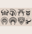 set black and white helmets and skulls vector image vector image