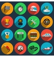 set racing icons in flat style vector image