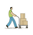 shopper with shopping cart full boxes vector image