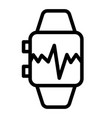 smart watch with pulse line icon smart watch with vector image vector image
