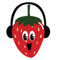 smiling strawberry on white background vector image vector image
