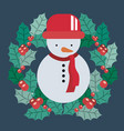 snowman and wreath of merry christmas design vector image vector image