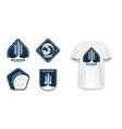 space badge with spaceship rocket launch vector image vector image