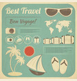 Summer travel card in retro style vector | Price: 1 Credit (USD $1)