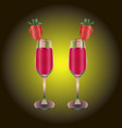 two wineglasses with red drink and strawberry vector image