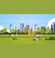 urban park outdoors city buildings street lamps vector image vector image