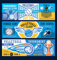 volleyball sport tournament banners vector image vector image