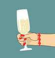 Womans hand with glass of champagne Woman holds vector image vector image