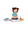young girl kids studying reading book learning vector image vector image